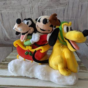 Gemmy Disney Mickey Goofy Pluto sleigh animated mu